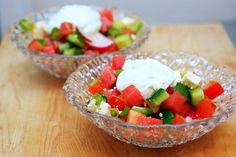 chopped tomato, pepper, cuke salad with watermelon and feta
