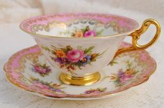 E B Foley Tea cup, I like how the color pink graces the edges of the china
