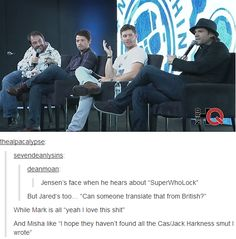 Yes yes and yes. Laughing as I imagine them going and finding all the SuperWhoLock..
