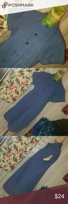 Denim Girl Pinstripe denim shirt dress Sz 6 J. Crew Dresses