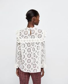 Image 5 of DIE-CUT EMBROIDERED BLOUSE from Zara