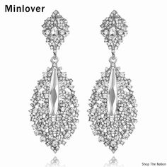 Minlover Silver Color Crystal Long Drop Earring for Women Wedding  Accessories Dangle Earrings Fashion Bridal Jewelry Gift EH214 37686f59c862