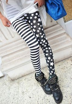 Stripe Star Print Slimming High Elasticity Women's Leggings, BLACK, ONE SIZE in Leggings | DressLily.com