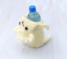Bottle cozy Baby bottle sleeve For kids Crochet cozy Water bottle cover Animal shaped cozy Cream sheep Funny lamb For animal lovers - pinned by pin4etsy.com