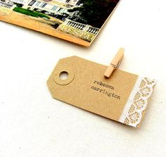 Escort cards, rustic weddings, lace, place cards, Kraft, luggage tags, hand-typed
