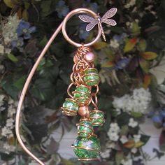Dragonfly Plant Stake Garden Art Yard Sculpture Glass Metal Bell Handmade Green