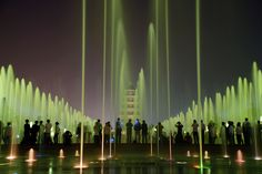 Giant Wild Goose Fountain - Xi'an, China. Distributed over an area of 16.8 ha, the water jets shoot irregular streams to the rhythm of music and make for a particularly thrilling display at night, when the fountain is graciously illuminated by LED lights.
