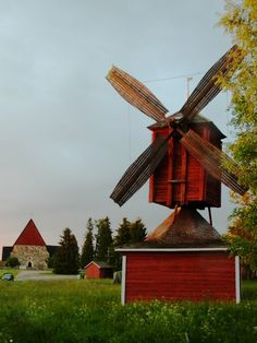 Windmill and old Church (1304). - Isokyrö, Ostrobothnia province of Western Finland. - Pohjanmaa. photo rai-rai