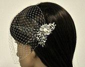 Birdcage Veil with beautiful Swarovski Pearl Comb
