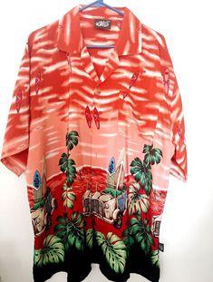 5c098c19 Mens Hawaiian Shirt Uluwatu Aloha Red Surfboards XXL Vintage Car Palm Trees