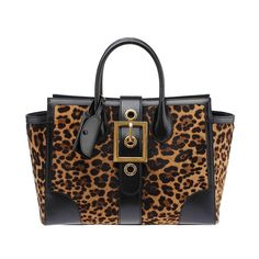 Gucci Lady Buckle Leopard Print Pony Hair and Black Leather Shoulder Tote | From a collection of rare vintage tote bags at https://www.1stdibs.com/fashion/handbags-purses-bags/tote-bags/
