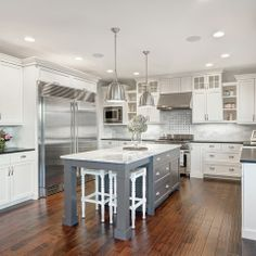 White Kitchen Gray Island Design Ideas, Pictures, Remodel and Decor by Axiom Luxury Homes