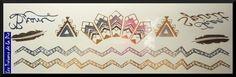 TATOUAGES TEMPORAIRES TATOO - Body art - Motif graphique - Doré, argenté & noir