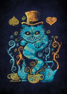 cheeshire cat alice in wonderland impressionism tea literature Illustration