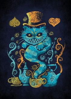 cheeshire cat alice in wonderland impressionism tea literature Illustration