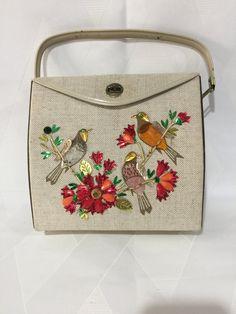 Vintage Retro 1960s Enid Collins Style Jeweled Floral Bird Box Purse Veneer  Wood Sides Handbag 2805334c62203