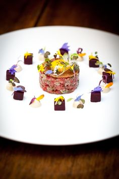 Beef and Rock Oyster Tartare With Kikkoman Soy Mayonnaise and Quail Egg recipe by professional chef Simon Hulstone, The Elephant Food Design, Quail Eggs, Molecular Gastronomy, Fish Dishes, Culinary Arts, Creative Food, Food Presentation, Mayonnaise, Food Plating