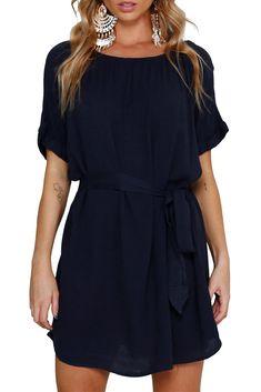 $38.99 Just Float Boat Neck Chiffon Dress  #Summerdresses #Springdresses #Springfashion  #Summerfashion #coldshoulder