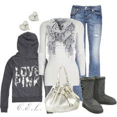 Weekend Outfit: PINK™ Bling hoodie+ off white cotton-jersey top+ Miss Me jeans + Aero Sherpa boots+ Cole Haan bag+ diamond studs& silver scarf.