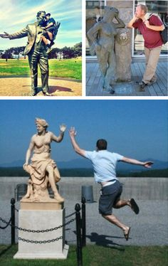 Tastefully Offensive on Tumblr, People Having Fun With Statues (Part 2)... SO terrible, but SOOOOO FUNNY