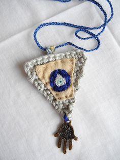 "Embroidered ""Turkish eye"", crochet, liberty fabric, hamsa hand charm, necklace"