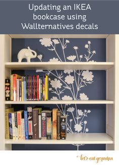 Bookshelf makeover with Wallternatives flower wall decals by Let's Eat Grandpa