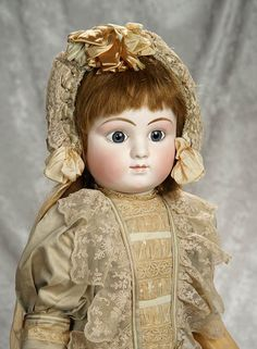"January 31, 2018. Antique Dolls Auction at theriaults.proxibid.com | Beautiful 28"" French bisque bebe, Series C, by Jules Steiner with original body. $3500/4500"