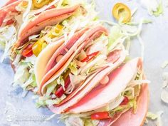 Italian Sub Keto Roll Ups - pepperoni slices (use turkey pepperoni or another meat) quality ham slices (might sub turkey) provolone cheese slices shredded lettuce canned hot cherry peppers white onion sauce (paleo mayonnaise [sub yogurt/kefir] red Ketogenic Recipes, Low Carb Recipes, Diet Recipes, Cooking Recipes, Healthy Recipes, Ketogenic Diet, Pork Recipes, Ketogenic Breakfast, Cooking Pasta