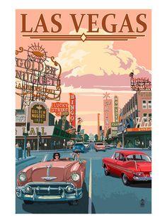 Poster Vintage de Las Vegas. Conduciendo por la calle Freemont, en Downtown.