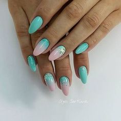 Color transition nails, Gel polish sea nails, Ideas of ombre nails, Marine nails, Oval nails, overflow nails, Pink and turquoise nails, Sea nails ideas