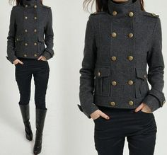 Grey double breasted military coat... love all the details, especially the cuffs
