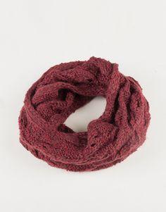 Holey Knit Infinity Scarf - Plum