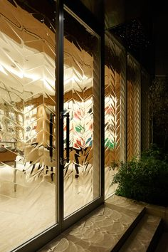 Textured Storefront Glass  L'ecrin (Jewel Box) handbag shop _ Hiroshi Nakamura & NAP