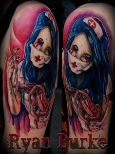 Registered Nurse Tattoo Designs Like zombie pin-up tattoo. Pin Up Tattoos, Cute Tattoos, Body Art Tattoos, New Tattoos, Sleeve Tattoos, I Tattoo, Random Tattoos, Color Tattoos, Tattoo Flash