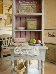 Dresser Shabby Blue and pink pastel Country door AtelierdeLea