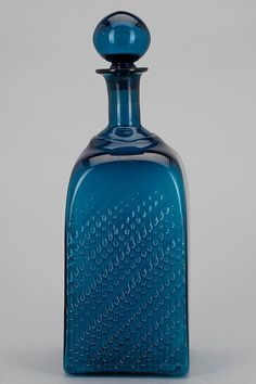 """Flindaren"" Nanny Still, Riihimäen Lasi 1964-1968. Blue Glass Bottles, Glass Pitchers, Bottles And Jars, Blue Furniture, Glass Molds, Complimentary Colors, Carnival Glass, Scandinavian Design, Finland"