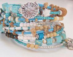 BOHO BEACH BRACELET, Wrap Bracelet, Sand Dollar, Starfish, Shell, Turquoise, Tan, White, Memory Wire, No Clasp