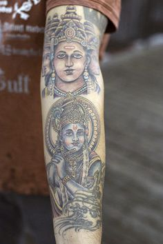 Brahma (above) and Krishna (below) decorate Krishna Venkatesh's arm.