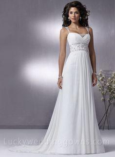 Gorgeous Chiffon Empire Spaghetti Strap Floor-Length Sleeveless Wedding Dresses