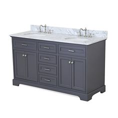 Aria-60-inch-Double-Bathroom-Vanity-CarraraCharcoal-Gray-Includes-a-Charcoal-Gray-Cabinet-with-Soft-Close-Drawers-Authentic-Italian-Carrara-Marble-Countertop-and-White-Ceramic-Sinks