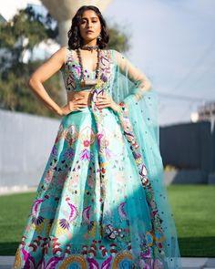 Latest Designer Sarees, Indian Designer Outfits, Indian Outfits, Half Saree Lehenga, Blue Lehenga, Half Saree Function, Wedding Lehenga Designs, Regina Cassandra, Engagement Dresses