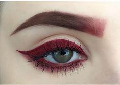 maroon eyeliner and brows