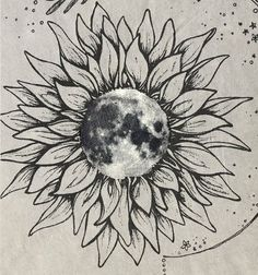 """""""Moon Flower"""" A sunflower with a moon inside. For the polar opposites. #MoonTattooIdeas"""