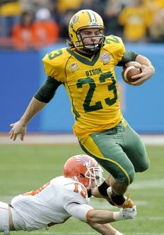 North Dakota State's Matt Voigtlander rushed for 27 yards on a fake punt and NDSU scored a touchdown on the next play to take a 10-6 lead in the NCAA Division I football championship game Saturday, Jan. 7, 2012, in Frisco, Texas.