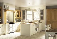 Symphony Kitchens from UK Kitchens and Bathrooms - Timeless - New England Ivory Kitchen Cost, Open Plan Kitchen, New Kitchen, Kitchen Ideas, Ivory Kitchen, Shaker Kitchen, Kitchen Inspiration, Kitchen Designs, Kitchen Storage