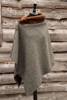 Harris Tweed Houndstooth & Vintage Mink Cape