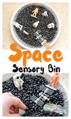 Space Sensory Bin for Kids Great tactile play for little kids that love astronauts Sensory Tubs, Sensory Boxes, Sensory Activities, Infant Activities, Sensory Play, Therapy Activities, Kindergarten Sensory, Sensory Diet, Preschool Curriculum