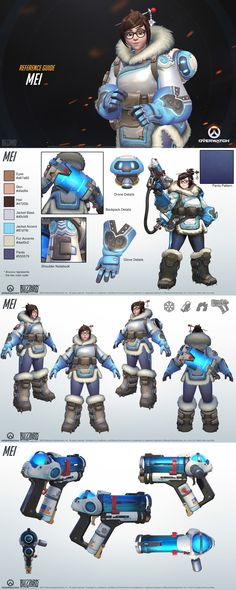 Design reference for human scientist characters, also shows how I could lay out my design/info sheets to explore a character's design in depth. (((Overwatch - Mei Reference Guide)))