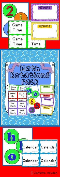 Download or pin to your Math Board!  Everything you need for your math rotations! Janetta Hayden
