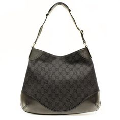 GUCCI Abbey GG Black Canvas and Leather Hobo Bag